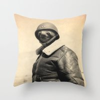 general Throw Pillows featuring General Sloth by Bakus