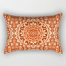 Southwestern Sun Mandala Batik, Coral Orange Rectangular Pillow