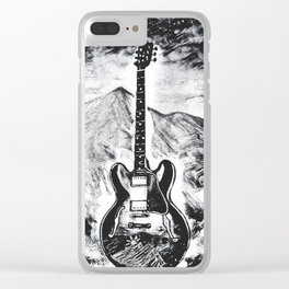 Guitar Art, Gibson ES-335, Rock & Roll Decor, Music Artwork Clear iPhone Case
