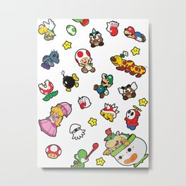It's a really SUPER Mario pattern! Metal Print
