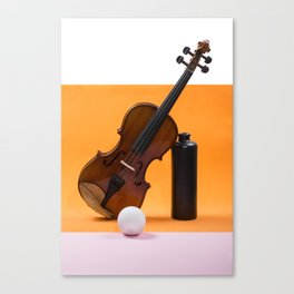 Still-life with a violin, a ball and a dark bottle Canvas Print
