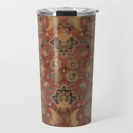 Flowery Boho Rug I // 17th Century Distressed Colorful Red Navy Blue Burlap Tan Ornate Accent Patter Travel Mug