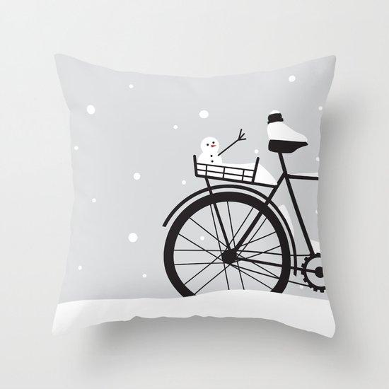 Bicycle & snow Throw Pillow