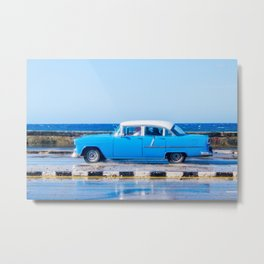 Waves and Classic Cars of the Malecón - 3 Metal Print