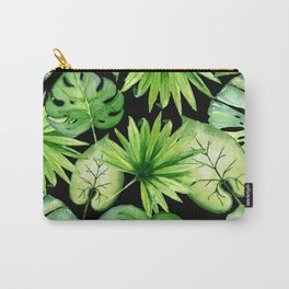 tropical leaves on black Carry-All Pouch