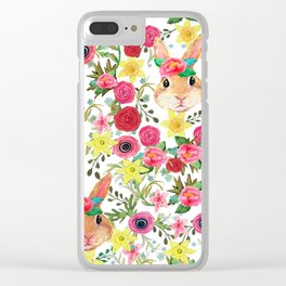 Easter rabbit with spring flowers, watercolor Clear iPhone Case