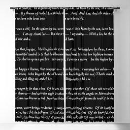 Annabel Lee Edgar Allan Poe black Classic Poem Blackout Curtain