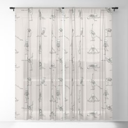 Skeleton Yoga Sheer Curtain