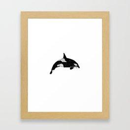 Killer Whale minimal linocut basic orca sealife ocean animals art black and white Framed Art Print