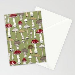 mushrooms fern green Stationery Cards