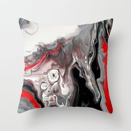 No Dice - Black, Silver and Red Abstract Throw Pillow