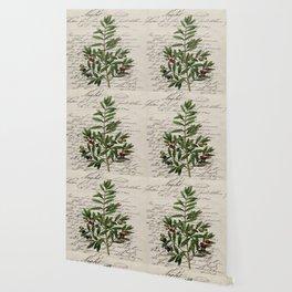 Chic paris scripts kitchen artwork french botanical leaf olive Wallpaper