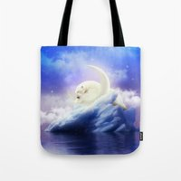 cartoons Tote Bags featuring Guard Your Heart. Protect Your Dreams. (Polar Moon) by soaring anchor designs