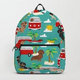 Dachshund dog breed beach tropical summer fun dachsie doxie lover gifts Backpack