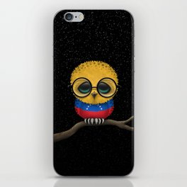Baby Owl with Glasses and Venezuelan Flag iPhone Skin