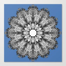 Abstract icy winter flower mandala Canvas Print