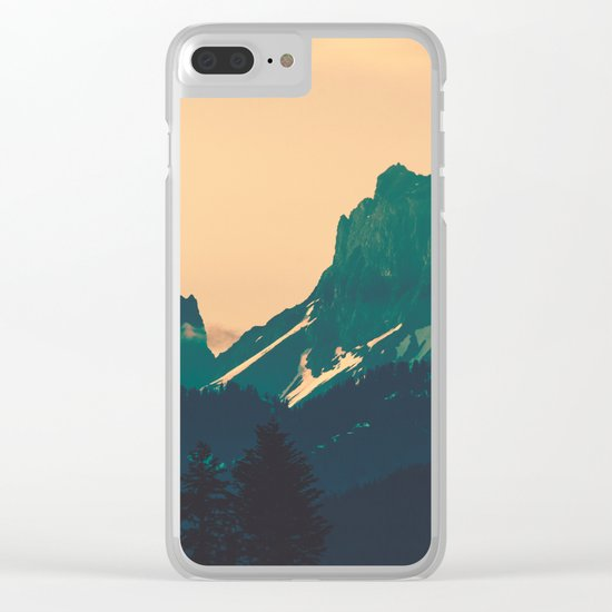 Cascade Mountains Sunset Clear iPhone Case