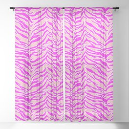 Tiger Print - Pink & Pink Sheer Curtain