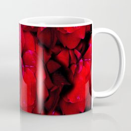 Full Roses | Red Roses, Valentines Day, Romance, Love, Real Flowers, Black, Dark Art, Flower Petals, Floral, Botanical  Coffee Mug
