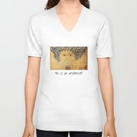 architect V-neck T-shirts featuring He Is An Architect! by Duru Eksioglu