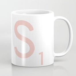 Pink Scrabble Letter S - Scrabble Tile Art and Accessories Coffee Mug