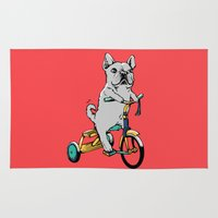 frenchie Area & Throw Rugs featuring Frenchie Ride by Huebucket