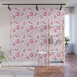 Pink Watercolour Pomegranate Simple Pattern Wall Mural