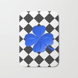 Diamonds Pattern black with clover blue Bath Mat