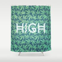cannabis Shower Curtains featuring HIGH TYPO! Cannabis / Hemp / 420 / Marijuana  - Pattern by badbugs_art