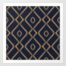 Modern Boho Ogee in Navy & Gold Art Print