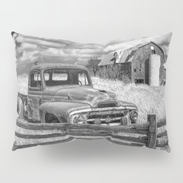 Black and White of Rusted International Harvester Pickup Truck behind wooden fence with Red Barn in Pillow Sham