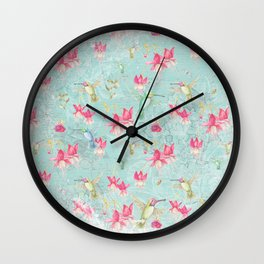 Vintage Watercolor hummingbird and Fuchsia Flowers on mint Background Wall Clock