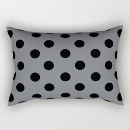 Grey & Black Polka Dots Rectangular Pillow