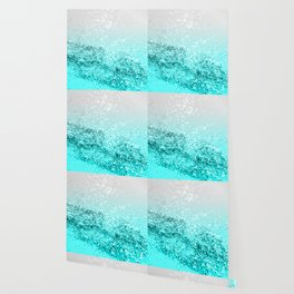 Silver Gray Aqua Teal Ocean Glitter #1 #shiny #decor #art #society6 Wallpaper
