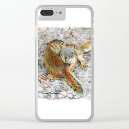 Siblings, baby red squirrels by Teresa Thompson Clear iPhone Case