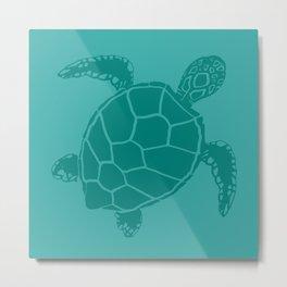 Turquoise Blue Sea Turtle Metal Print