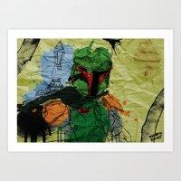 Boba Fett Splatter And Scrunch Art Print