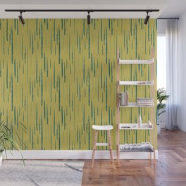 Tropical Dark Teal Abstract Grunge Vertical Stripe Pattern Inspired by Sherwin Williams 2020 Trending Color Oceanside SW6496 on Dark Yellow Wall Mural