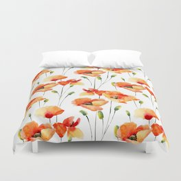 Hand Painted orange yellow watercolor poppies floral Duvet Cover