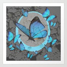 SHABBY CHIC  NEON BLUE BUTTERFLIES  & CHARCOAL GREY  N MOD Art Print