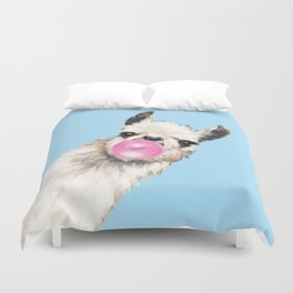 Bubble Gum Sneaky Llama in Blue Duvet Cover