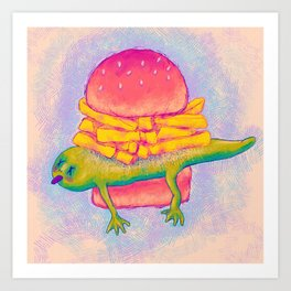 French Fry Newt Burger with Special Sauce Art Print