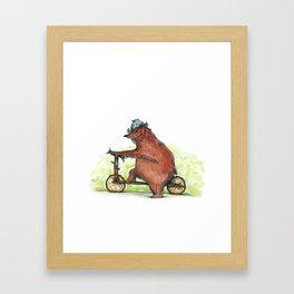 Bear Bike Framed Art Print