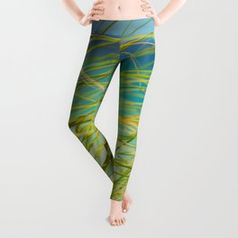 Seagrass By The Ocean Blue Waves Colorful Green To Blue Gradient Leggings