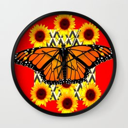 RED COLOR SUNFLOWERS & MONARCH BUTTERFLY GRAPHIC Wall Clock