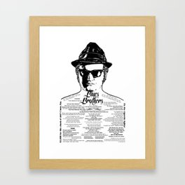 Jake Blues Brothers tattooed 'Four Fried Chickens' Framed Art Print