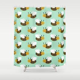 Bee pattern print mint honey bees nature inspired cute nursery kids gender neutral pattern Shower Curtain