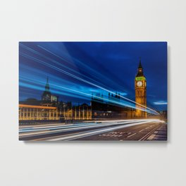 long exposure westminster bridge at blue hour Metal Print