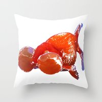 goldfish Throw Pillows featuring Goldfish by Regan's World