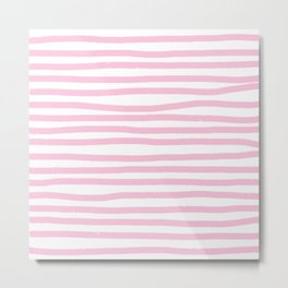 Pink Stripes Horizontal Metal Print